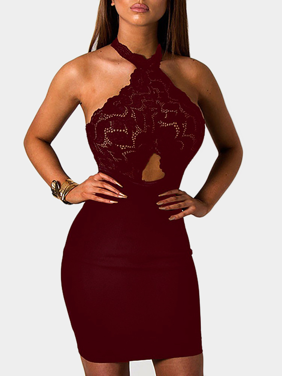 Burgundy See-through Lace Insert Cut Out Halter Mini Dress