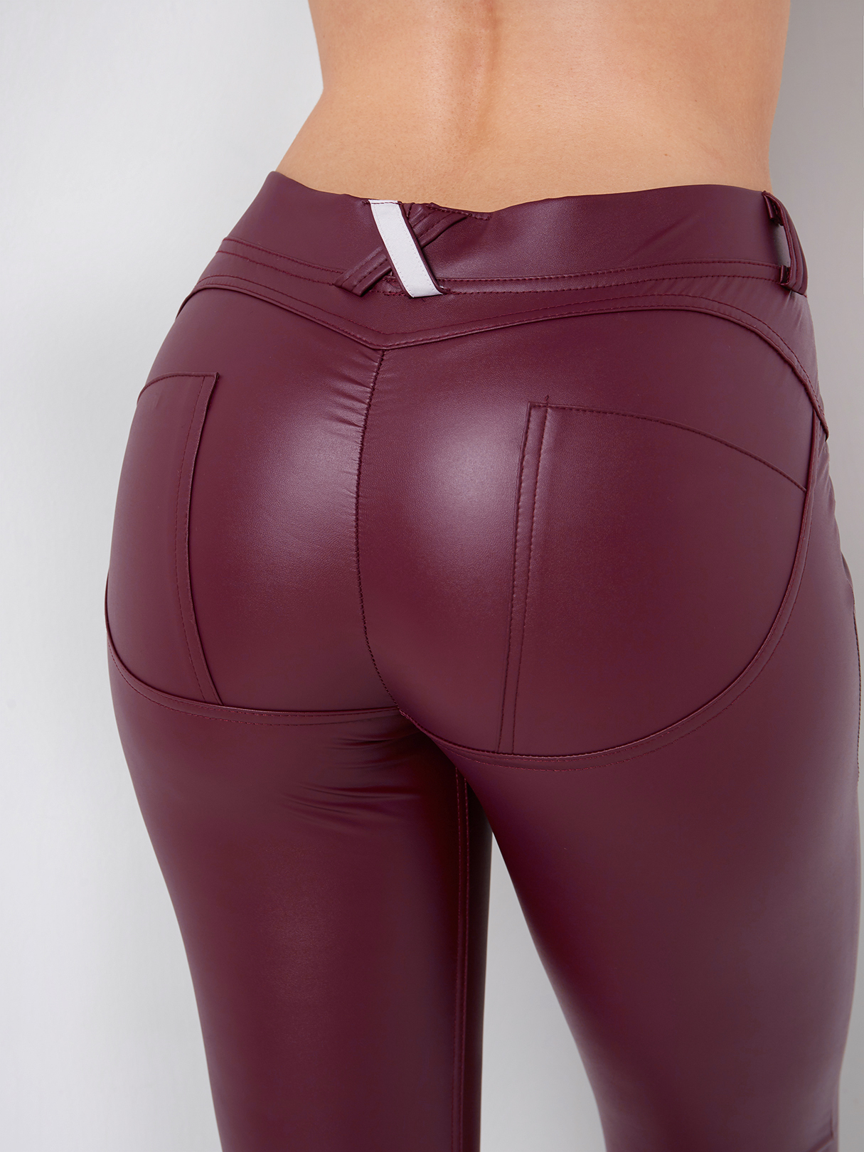 Burgundy Side Pockets Fashion Bodycon Leather Leggings