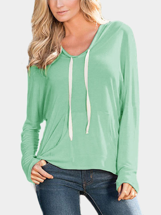 Green Hooded Design Pullover Jumper