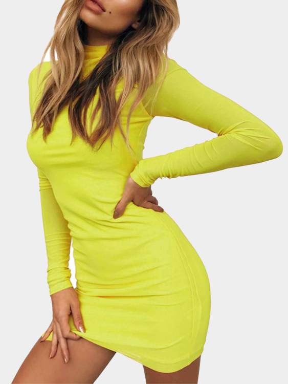 Yellow Round Neck Net Yarn Long Sleeves Bodycon Mini Dresses