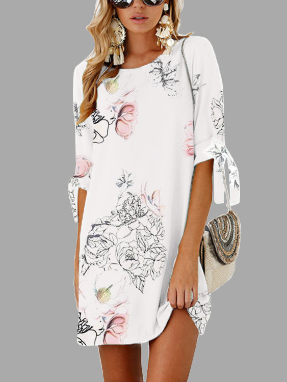 White Random Floral Print Self-tie at Sleeves Mini Dress