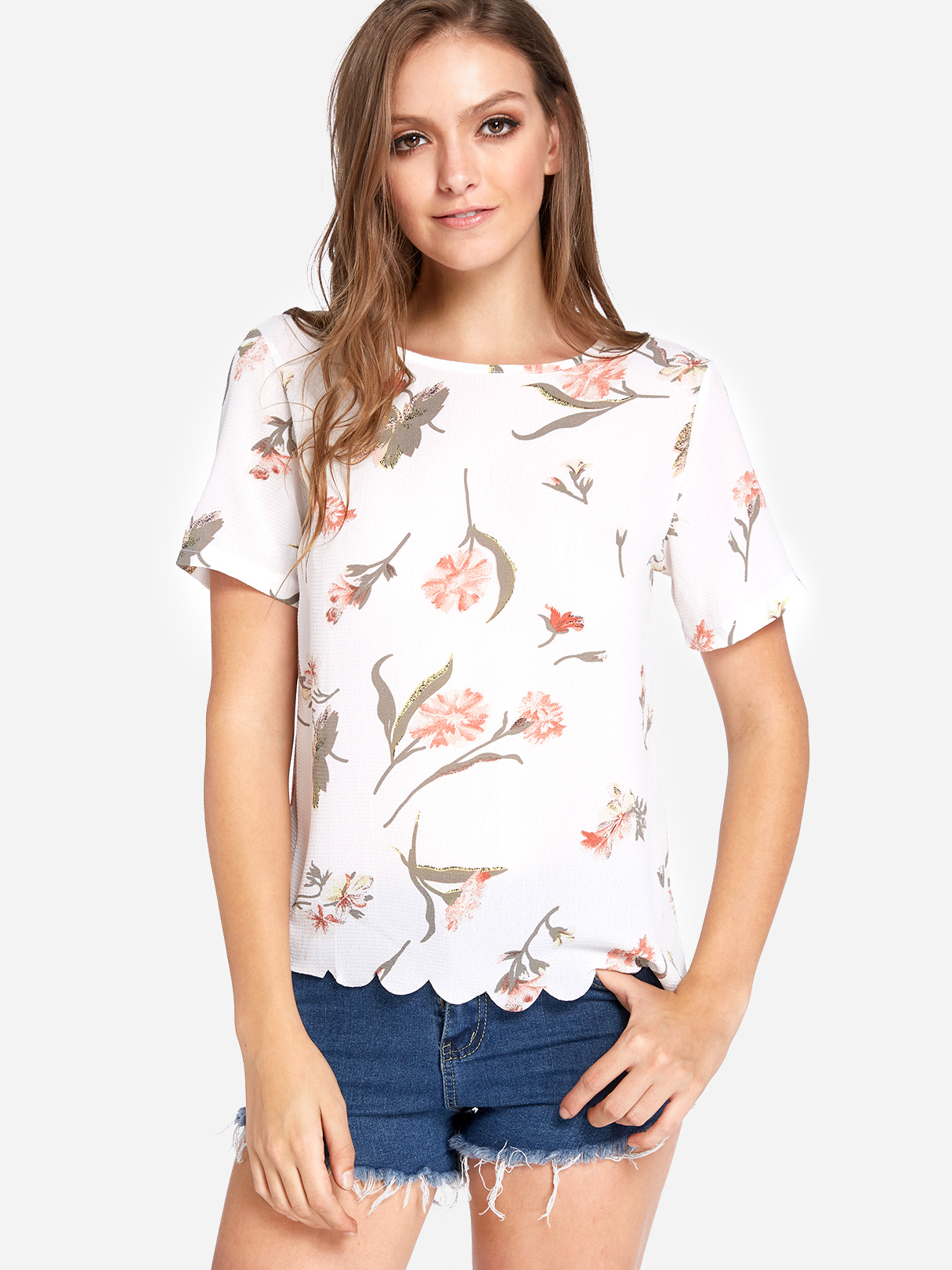 Floral Print Round Neck Scalloped Hem T-shirts