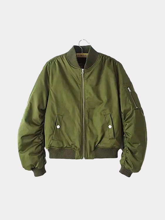 Green Side Pockets Stand Collar Long Sleeves Jacket