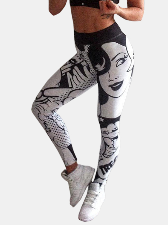 Active Print Stitching Design Gym Leggings in White