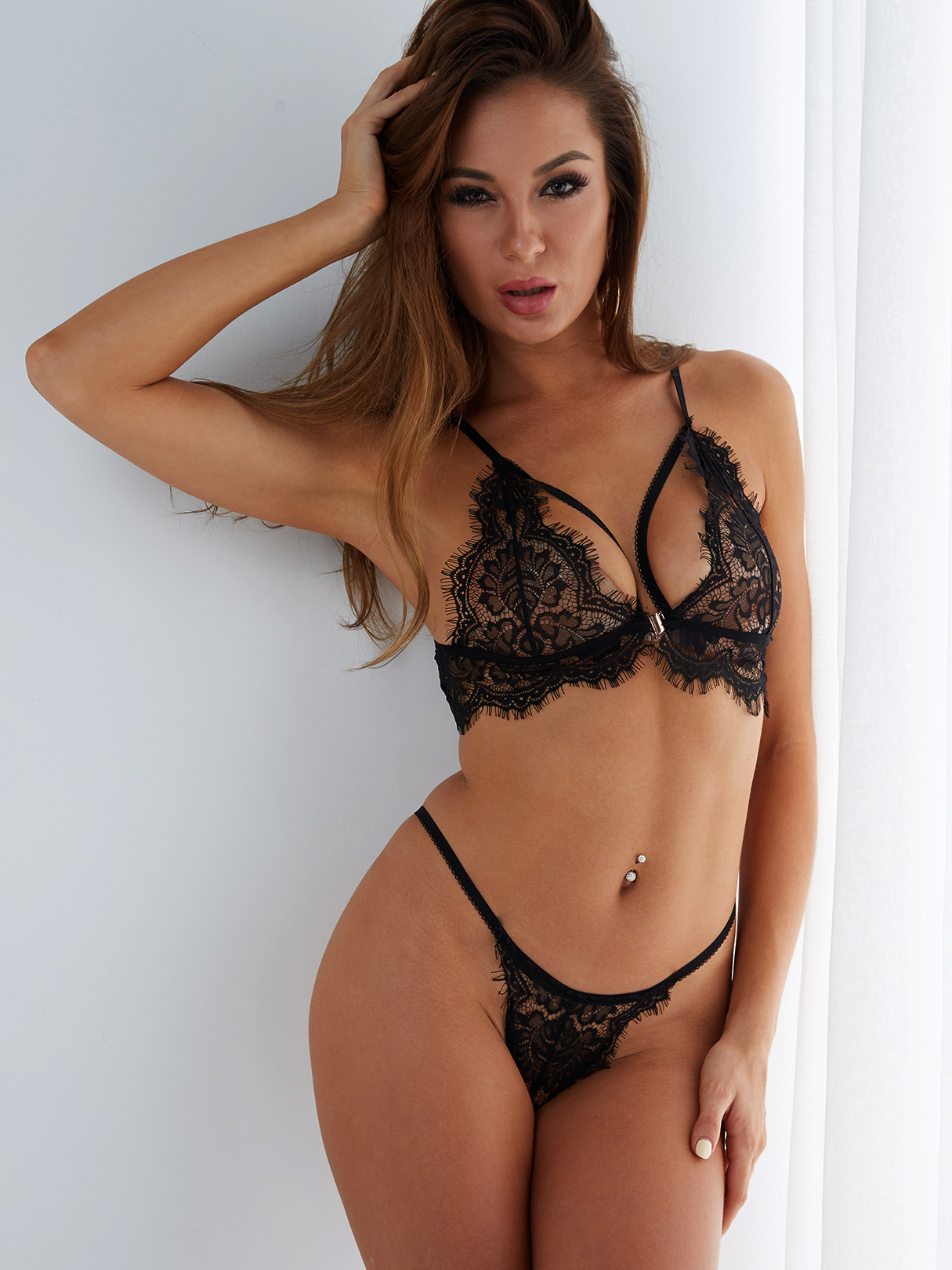 Black Sexy Lace High Waist Lingerie Sets