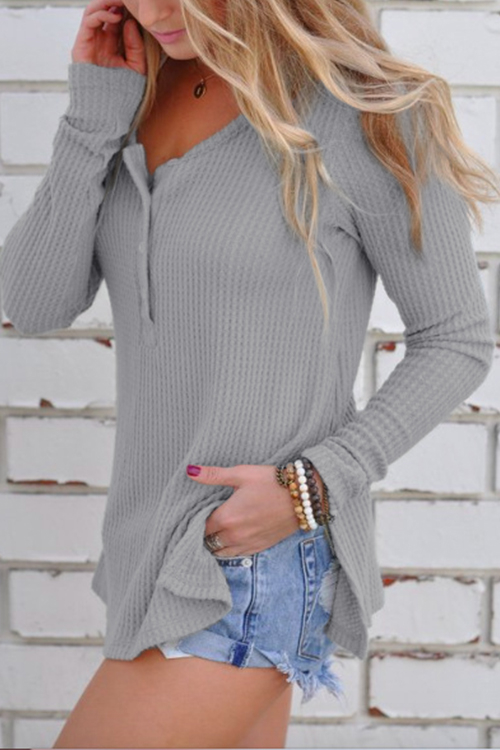 Grey Side Slit Round Neck Long Sleeves Knitwear