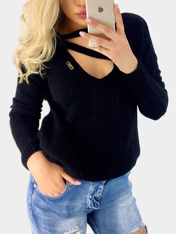 Black Solid Color Woolen V-neck Long Sleeves Top