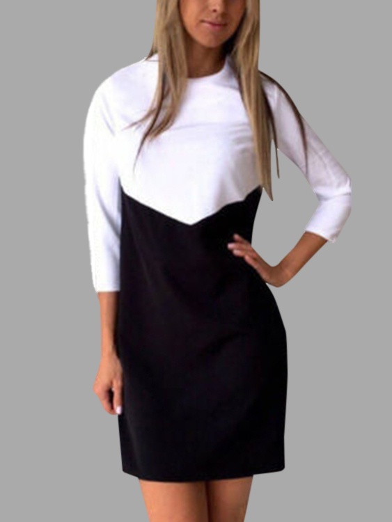 Black And White Splicing Casual T-shirt Dress