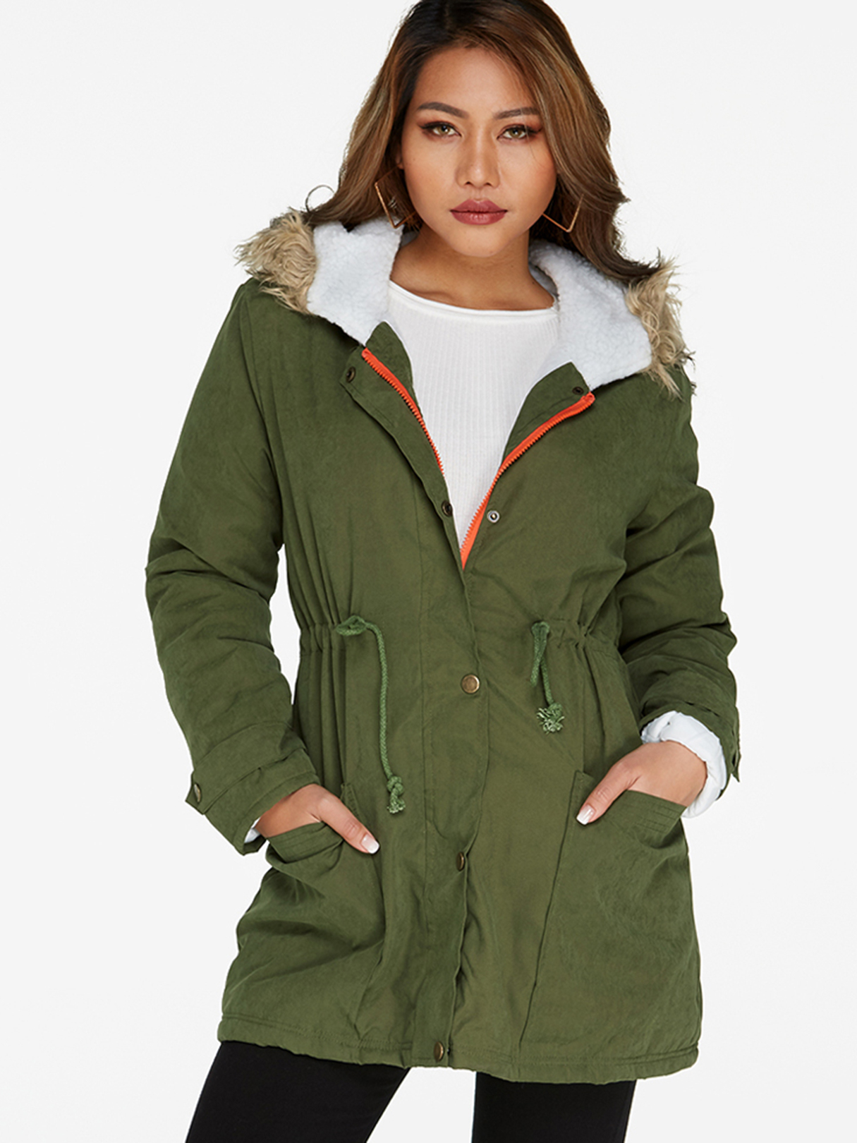 Dark Green Fur Hooded Lace-up Thickened Padded Coat