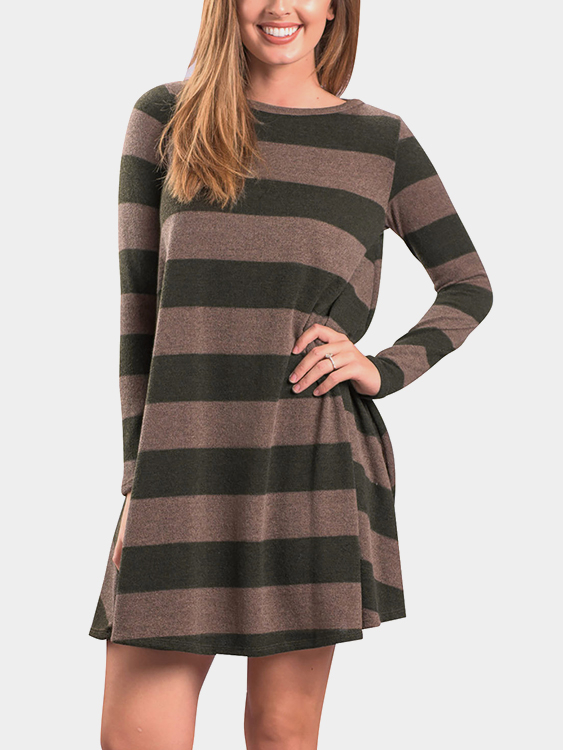 Green Stripe Round Neck Long Sleeves Stitching Casual Dress