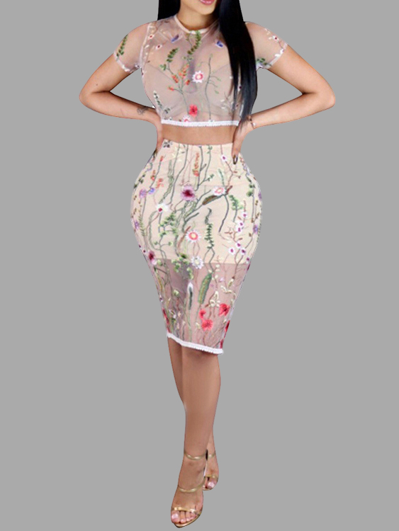 Sexy Embroidered Sheer Floral Crop Top & Midi Skirt Two-piece Set