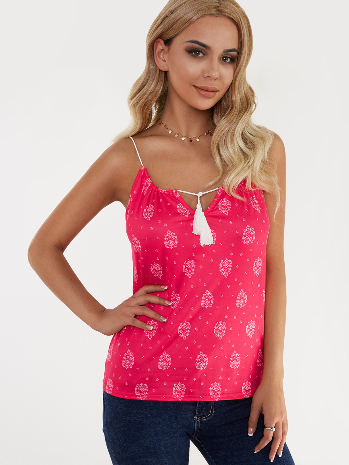 Red Floral Print Lace-up Design Drawstring Round Neck Camis