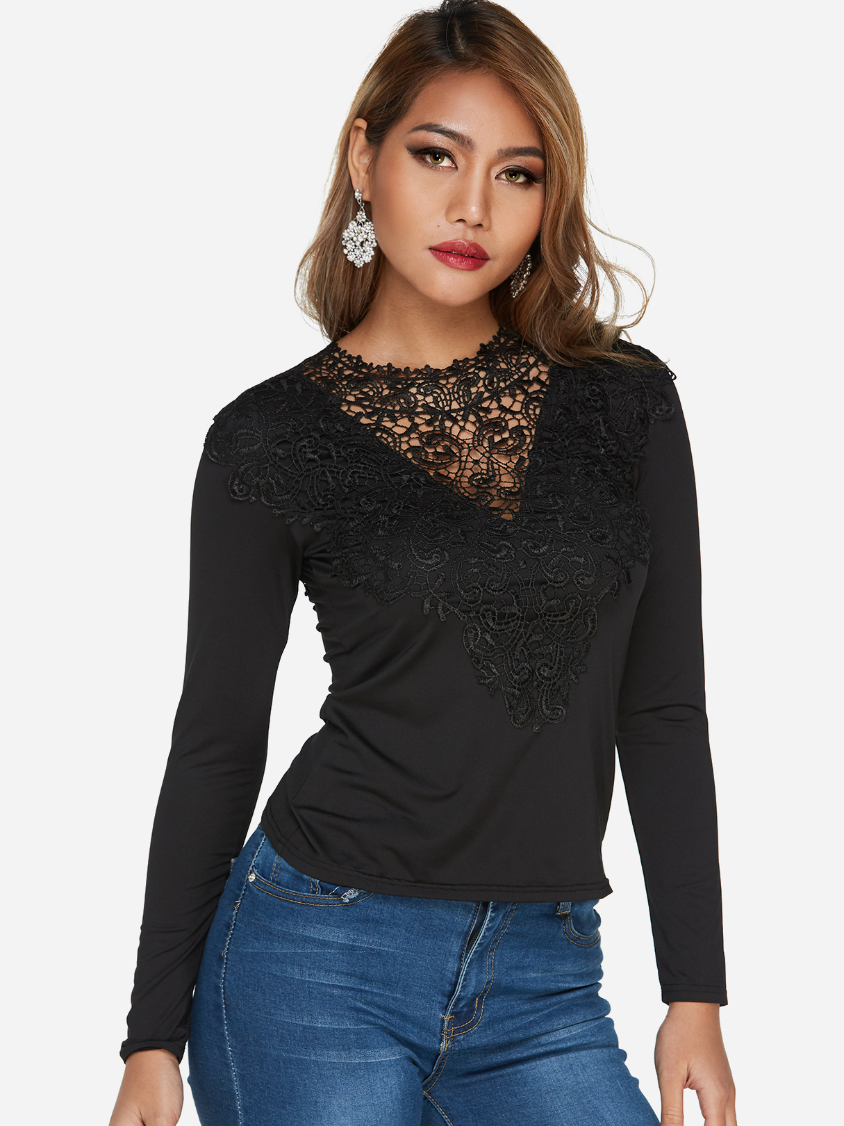 Black Lace-up Design Wide V-neck Long Sleeves Top - US 12.75 -YOINS 9e79c254c