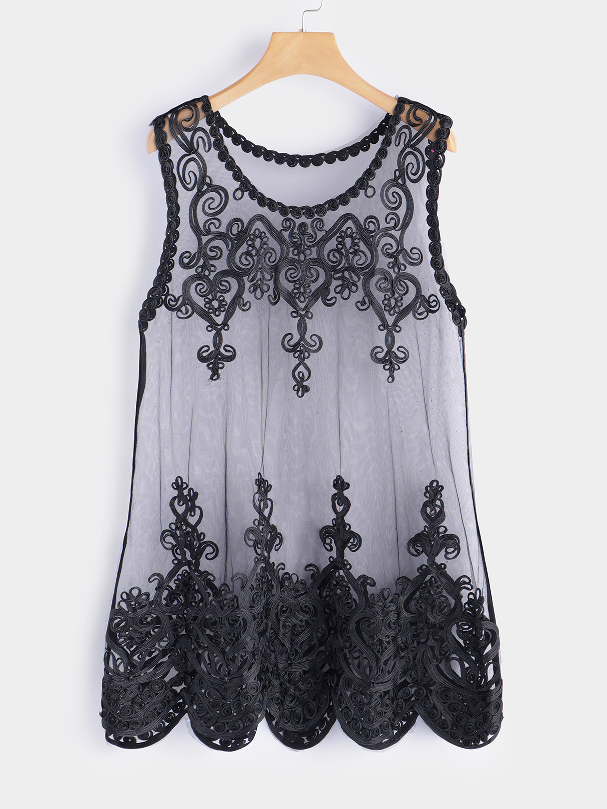 Plus Size Black Embroidered See-through Design Lace Tank