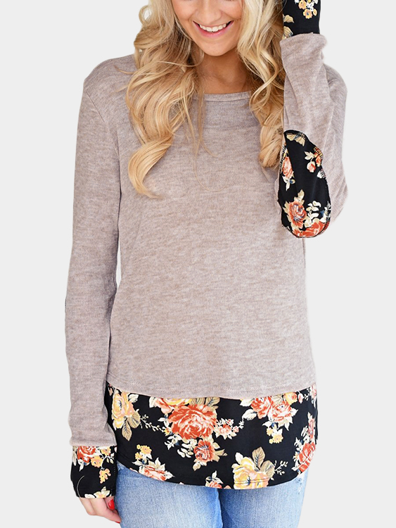 Light Khaki Floral Elbow Patch Splicing T-Shirt