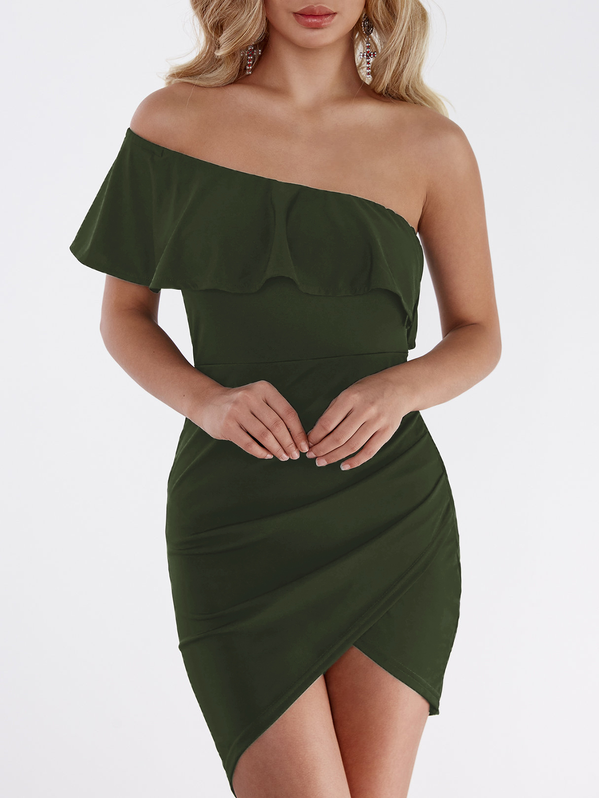Image of One Shoulder Asymmetrical Bodycon Mini Dress in Army Green