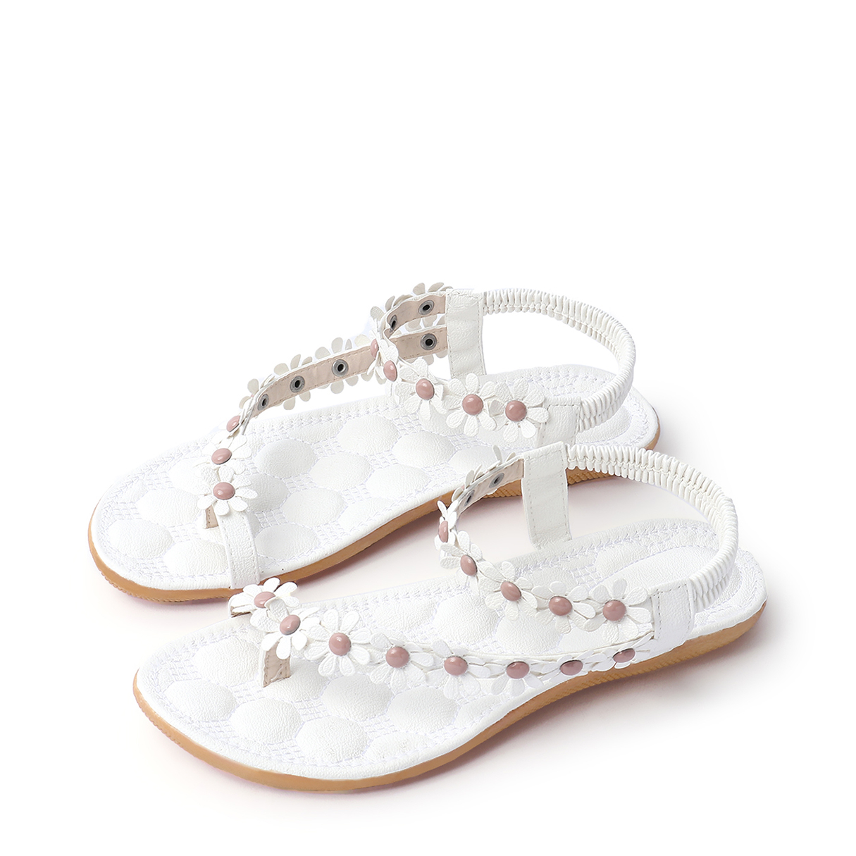 Floral Decoration Vocation Sandals in White