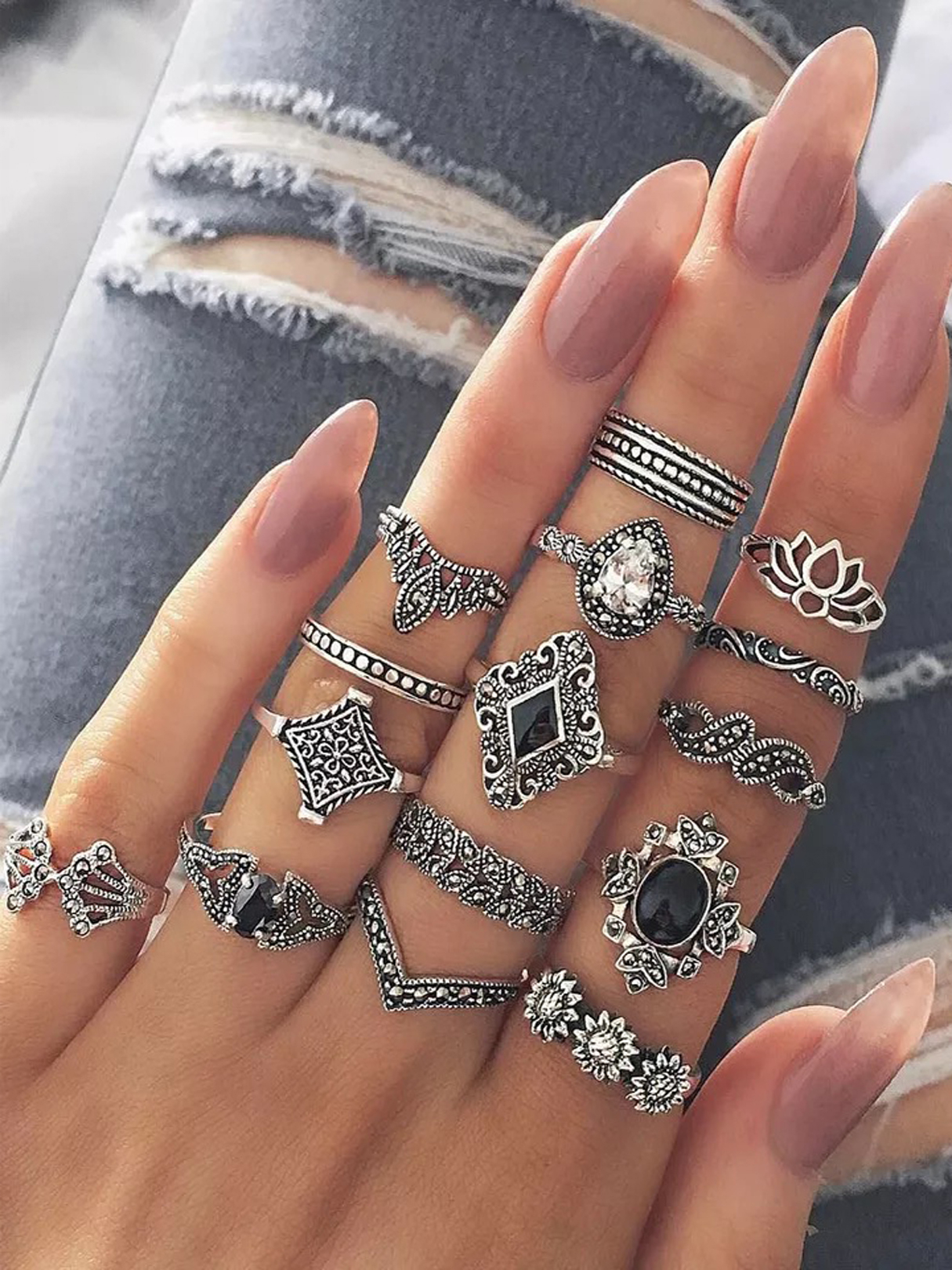 Bohemian Ancient Anemone Silver Fifteen-piece Rings Set