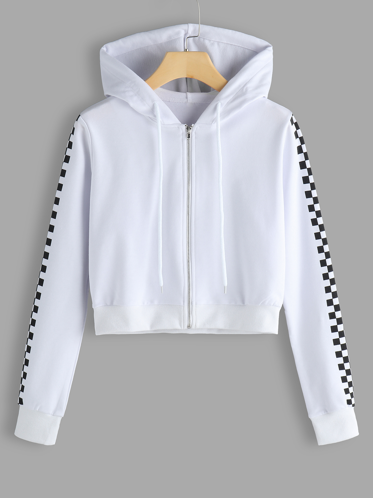 White Long Grid Sleeves Cropped Hoodie