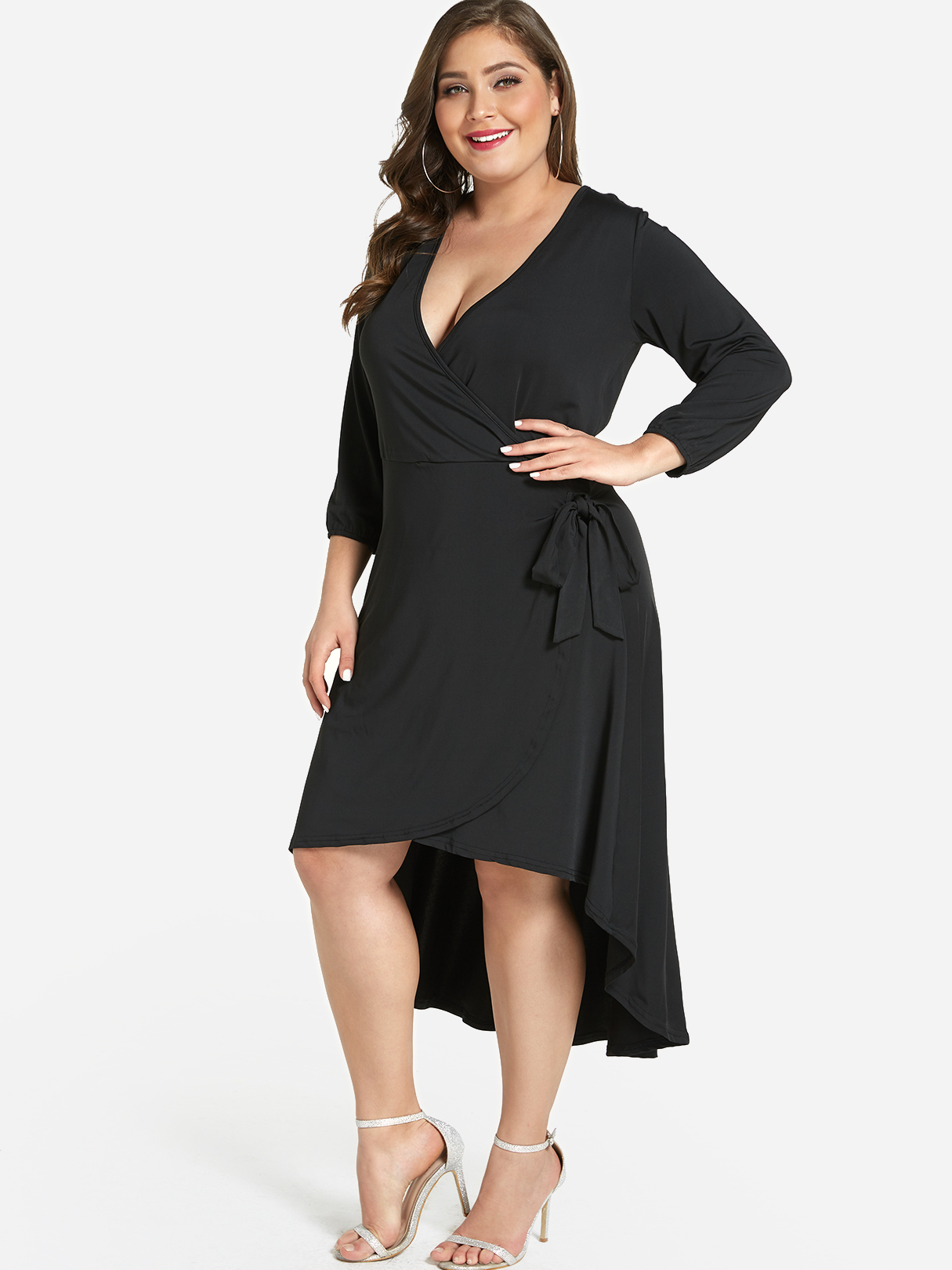Plus Size Black High-Low Hem Self-Tie Dress
