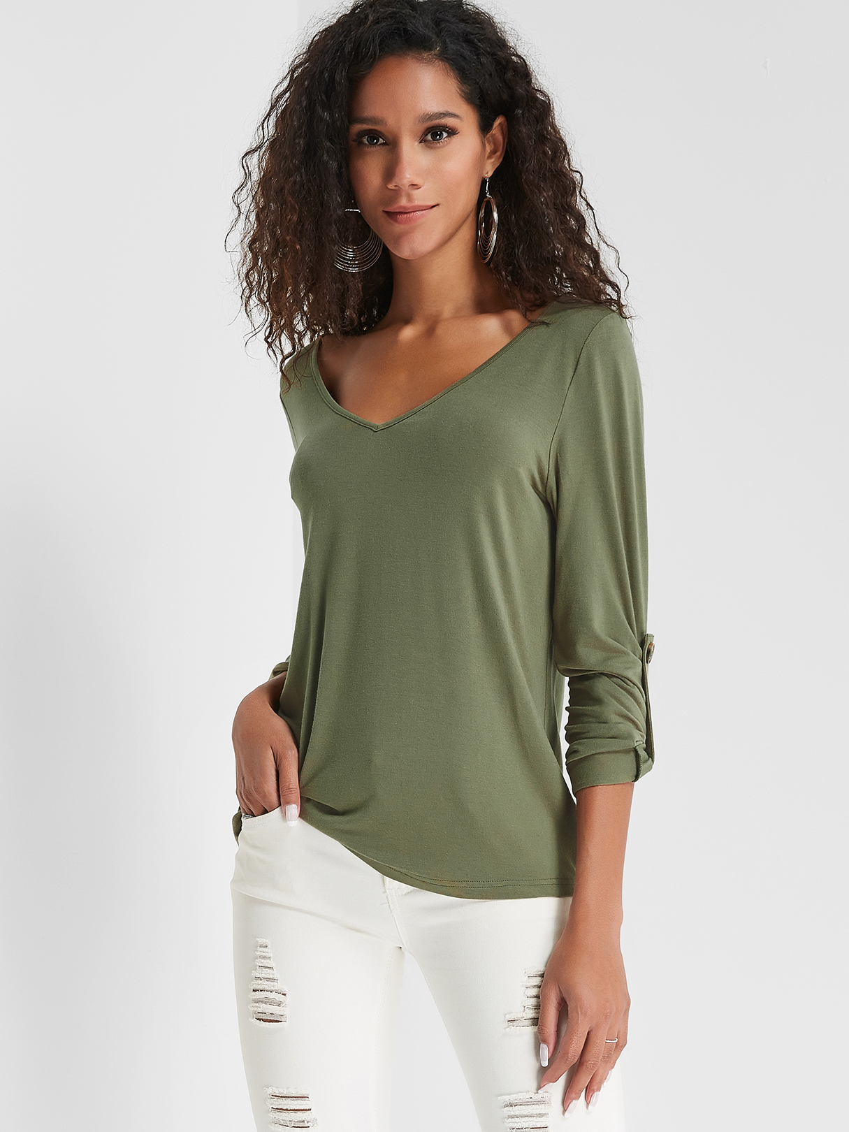 Olive Green V-neck Cozy Tee