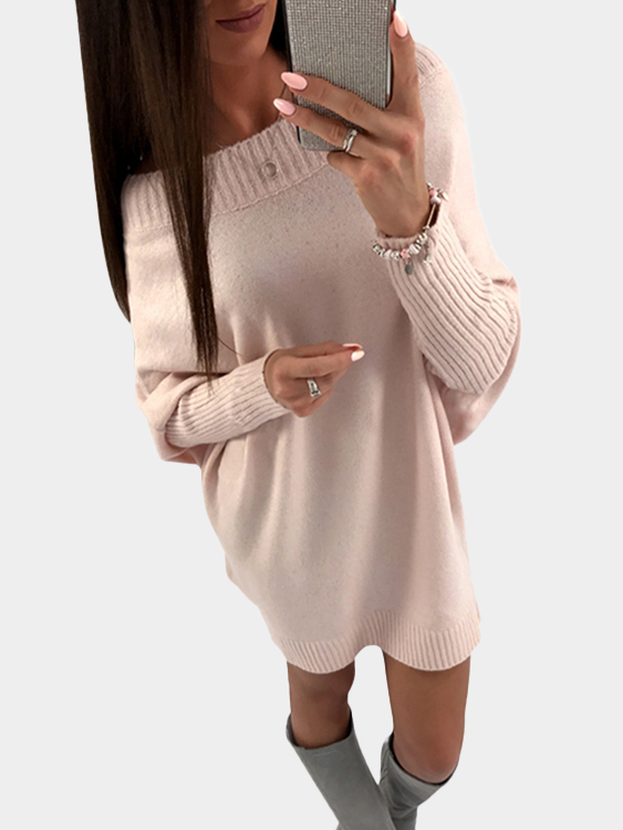 Pink Casual Long Sleeves Loose Sweater Dresses