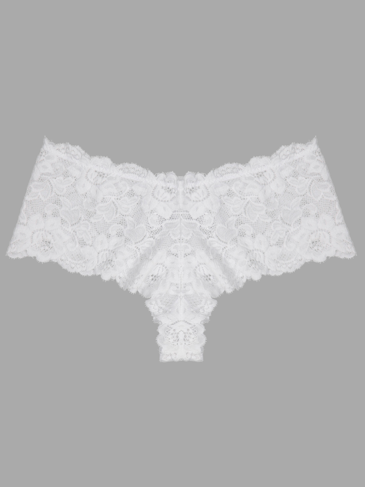 Plus Size White Scalloped Trim Floral Lace Panty
