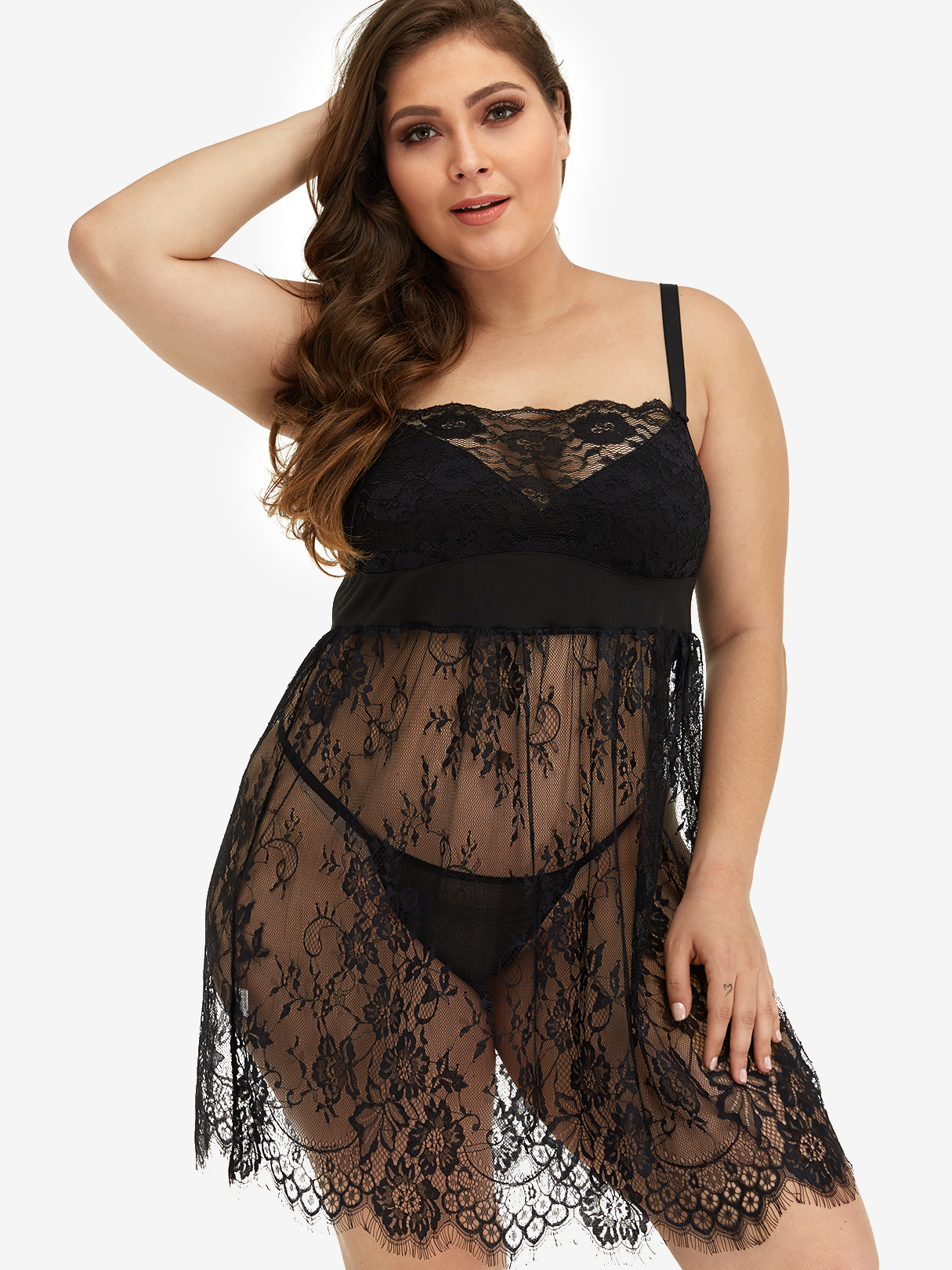 Plus Size Black Lace Floral Babydoll With Thong