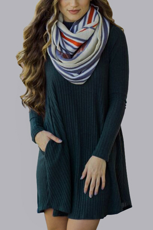 Green Casual Grey High Neck Mini Dress With Pocket