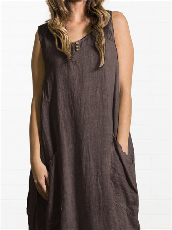 Coffee Button Design Pockets Round Neck Sleeveless Dress
