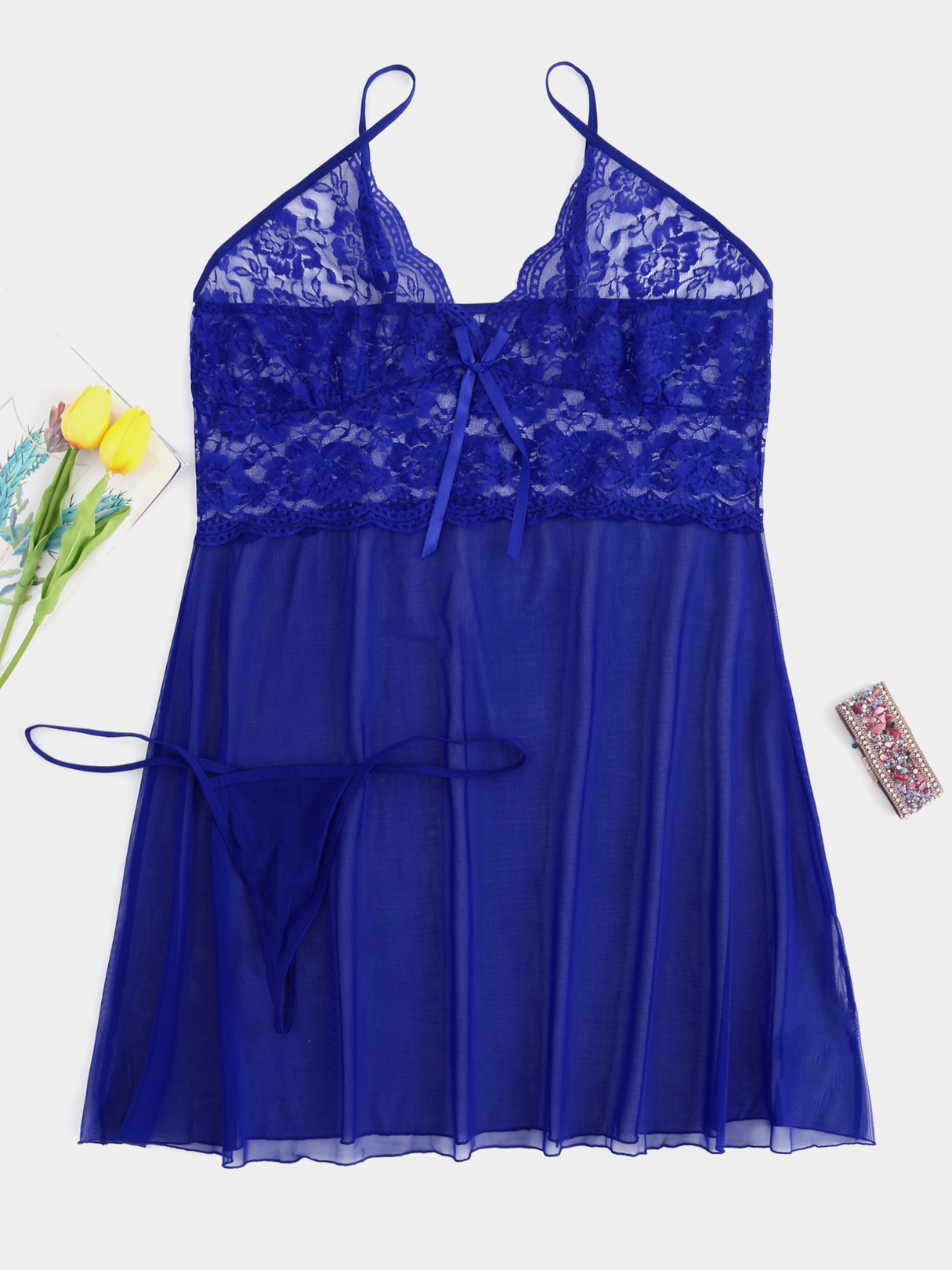 Plus Size Blue Lace Insert Babydoll With Thong