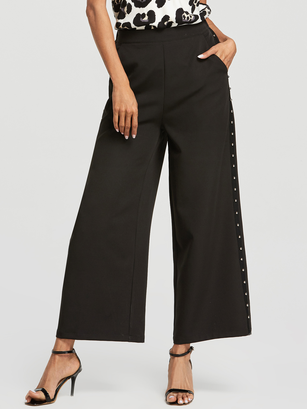 Black Beaded Details High-Waisted Wide Leg Pants
