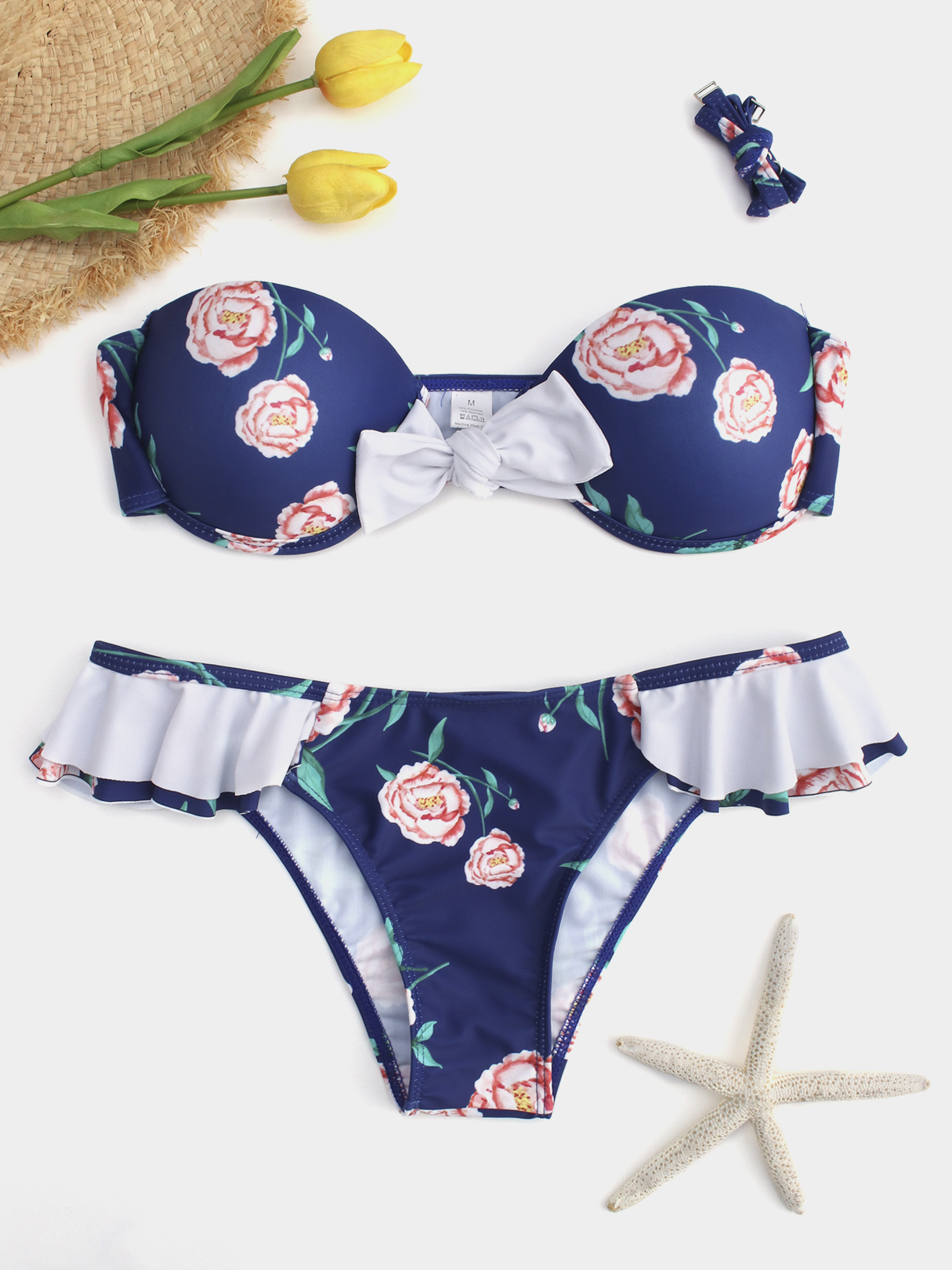 Blue Floral Halter Self Tie Bikini Set