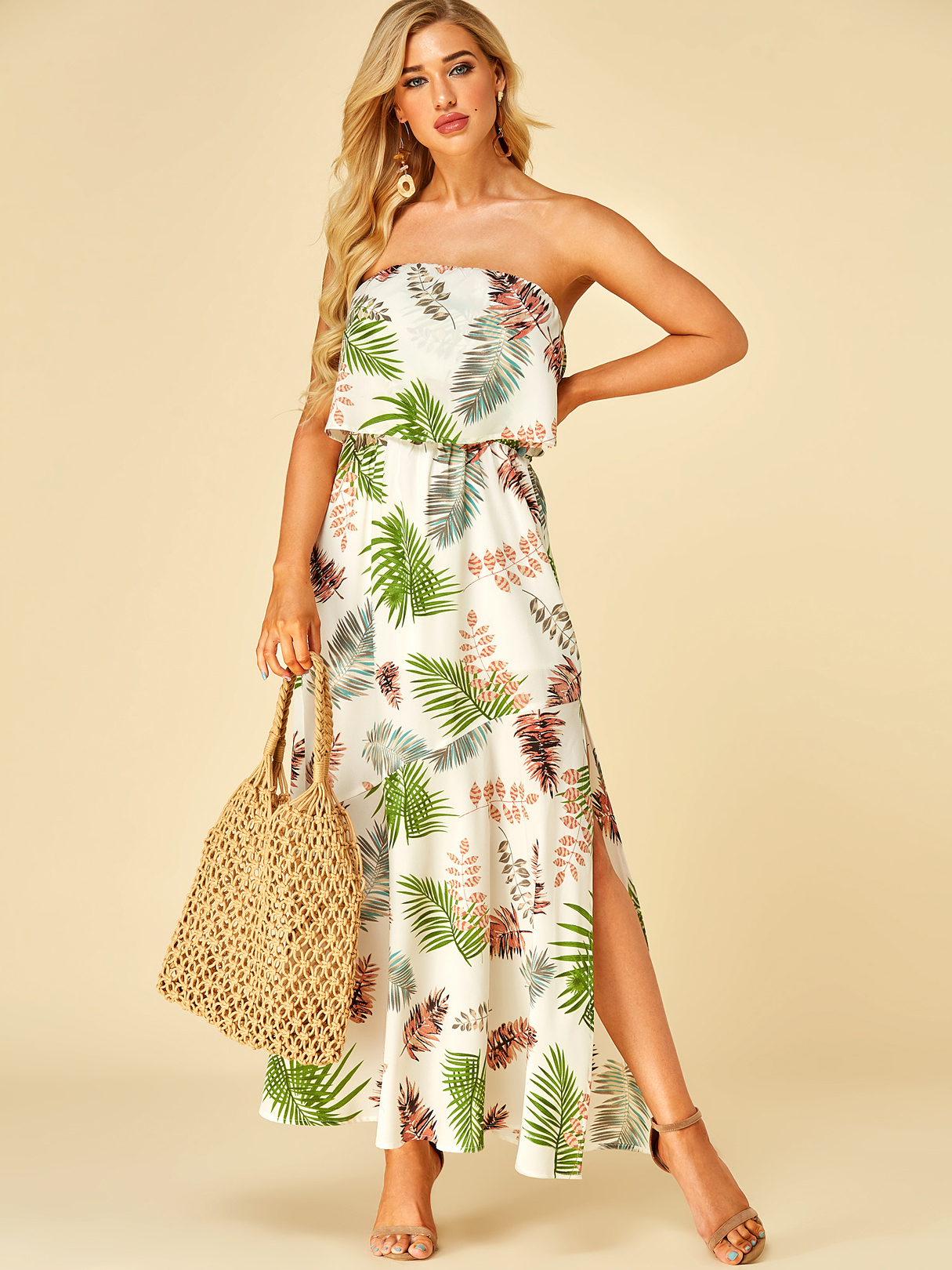 White Leaf Print Off The Shoulder Double Layer Dress