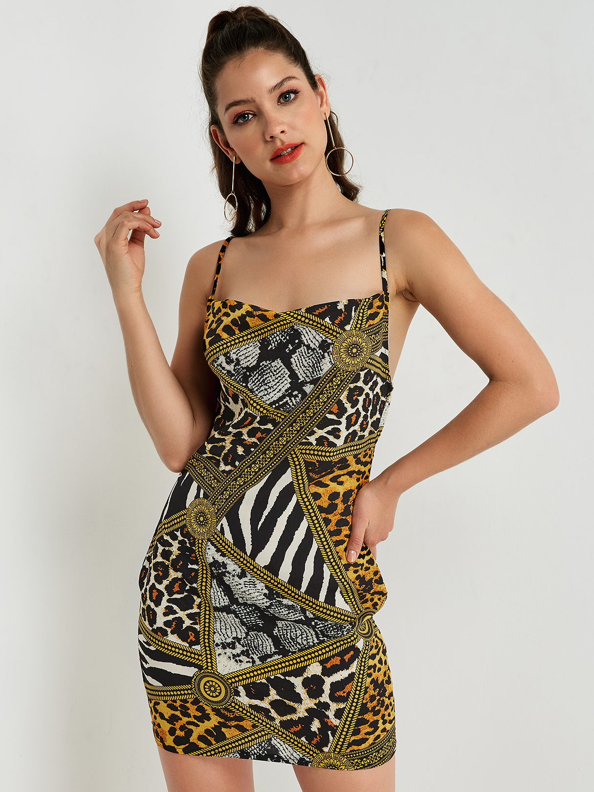 Animal Print Spaghetti Strap Mini Dress