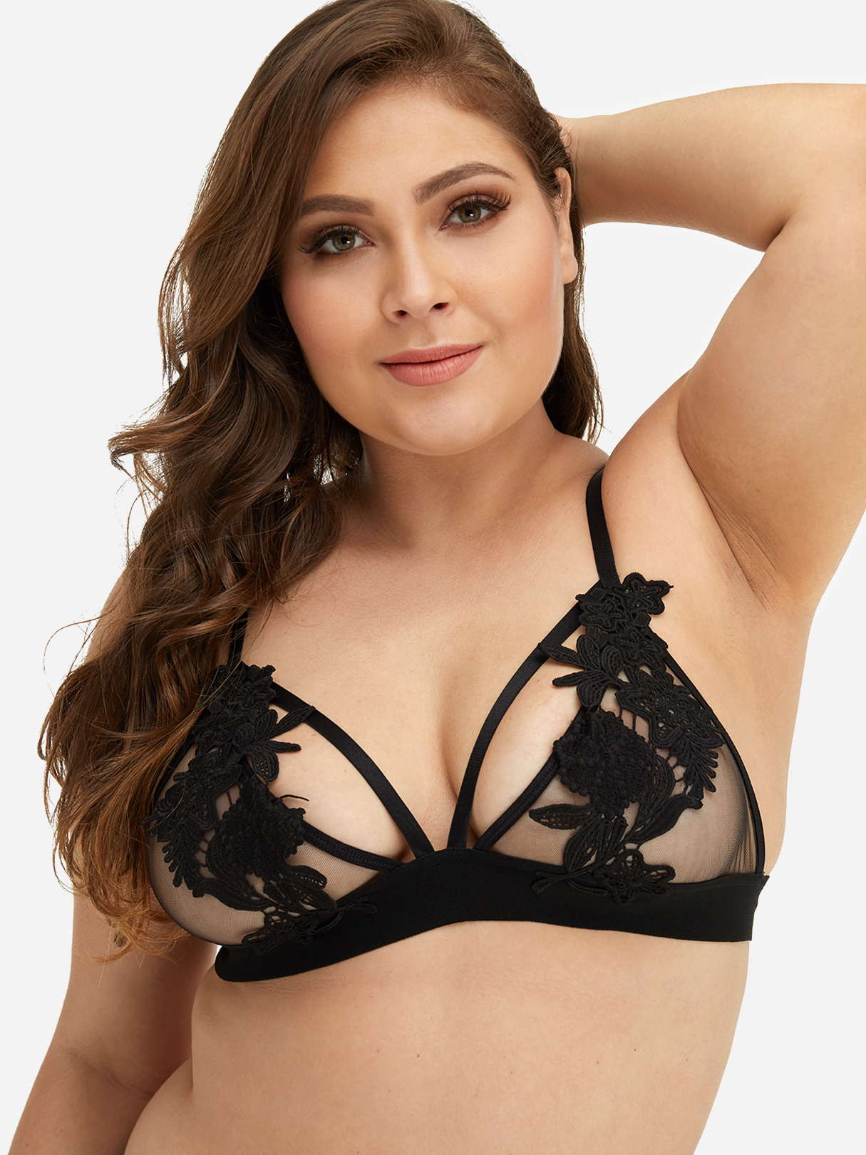 Plus Size Black Applique Lace Strappy Bra