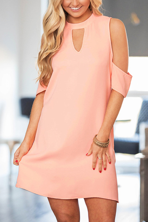 Pink Cut Out Mini Dress With Cold Shoulder