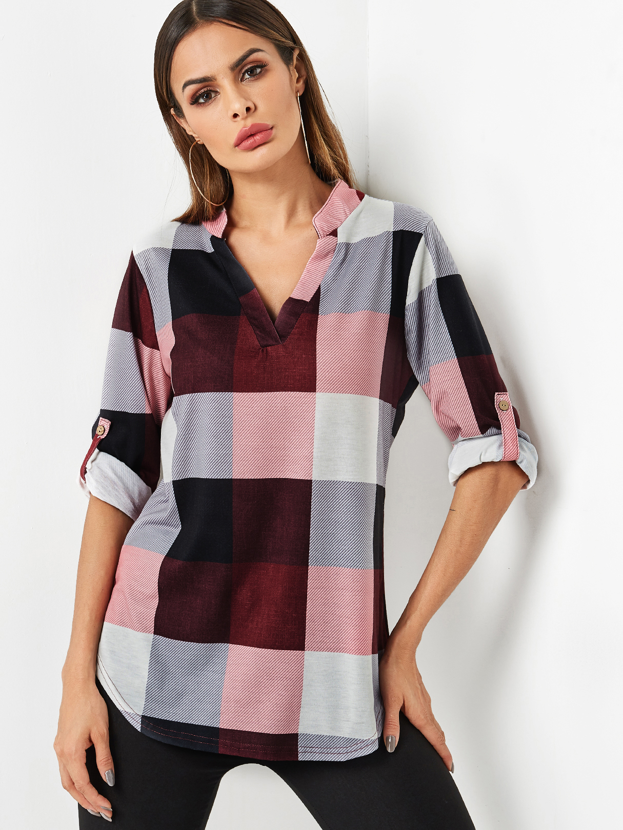Burgundy Grid Pattern V-neck Button Design Adjustable Length Sleeves Curve Hem Blouse