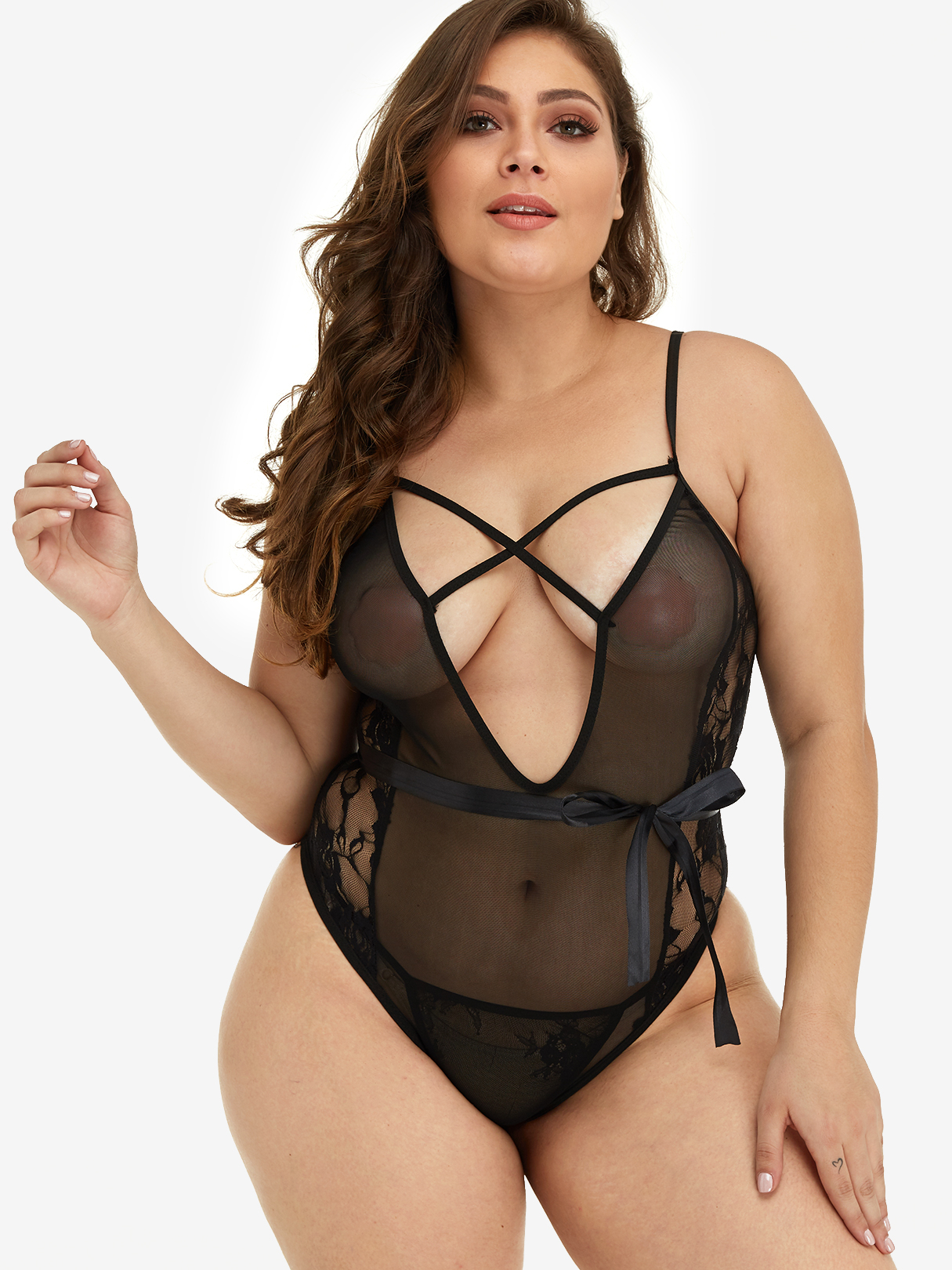 Plus Size Black Mesh Criss-Cross Teddy Bodysuit