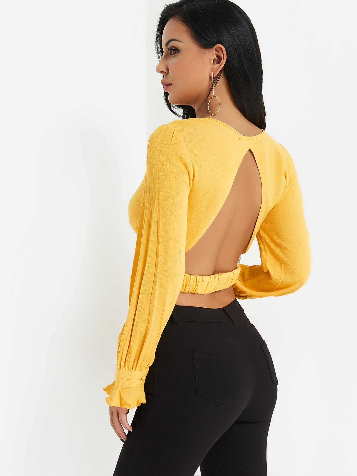 Yellow Backless Design Plain Crossed Collar Long Sleeves Crop Top