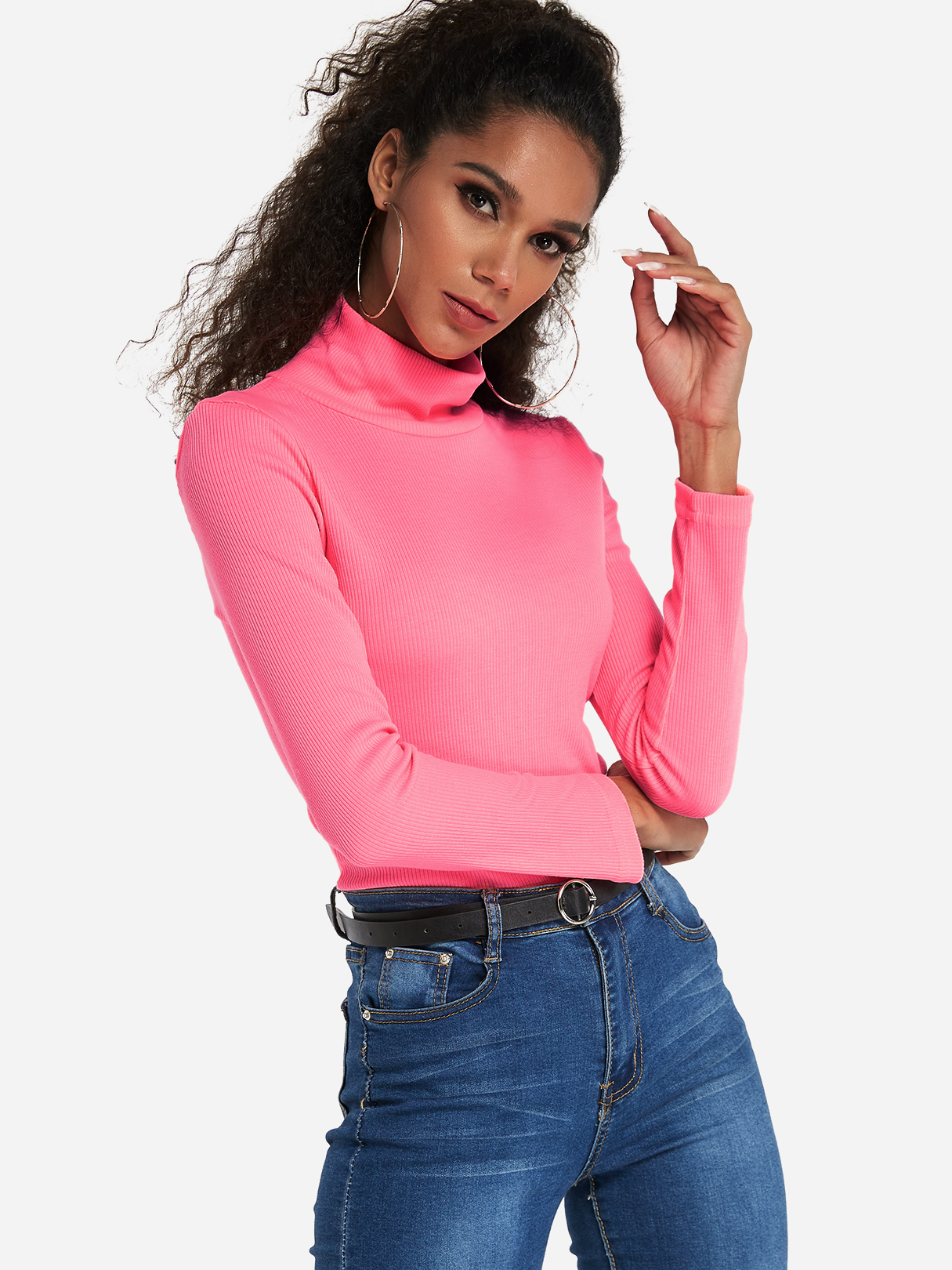 Neon Pink High-neck Long Sleeved Pullover Top