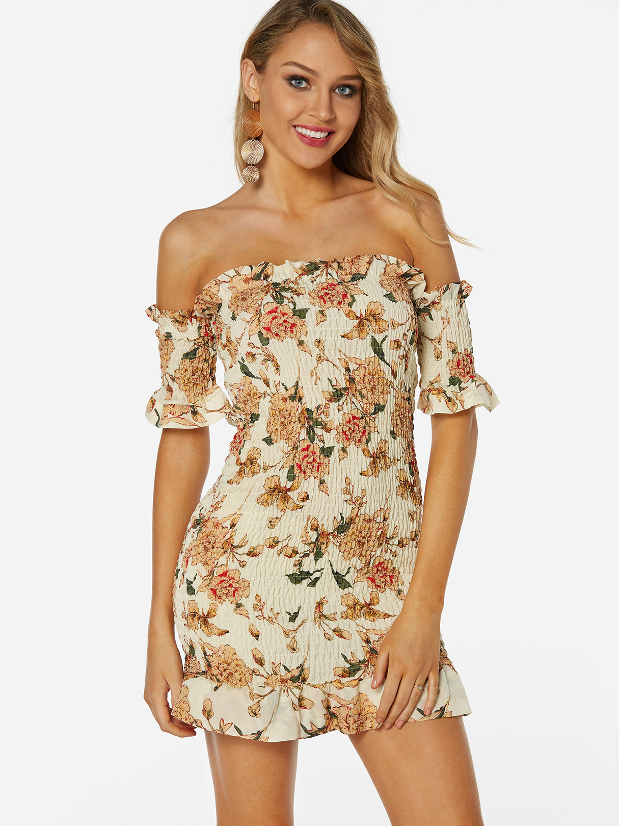 Random Floral Print Off The Shoulder Short Sleeves Bodycon Dress, Apricot