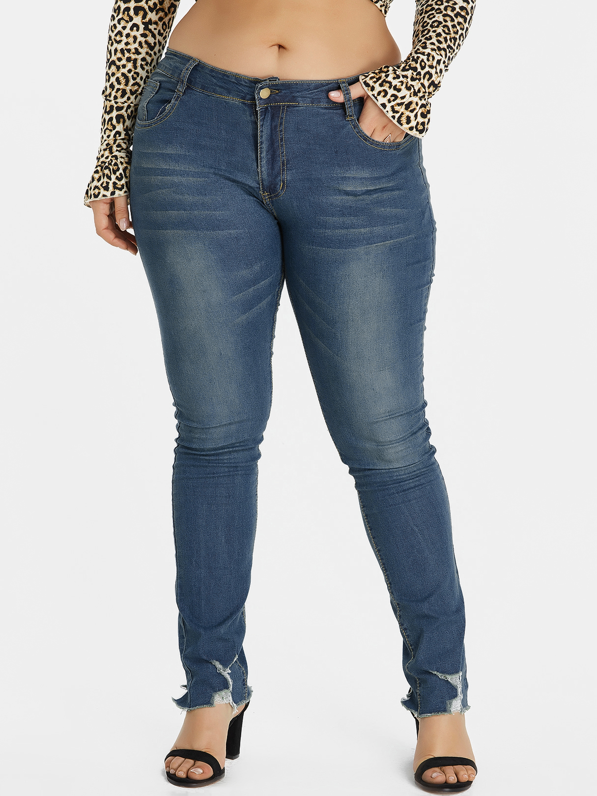 Plus Size Blue Ripped Detail Jeans