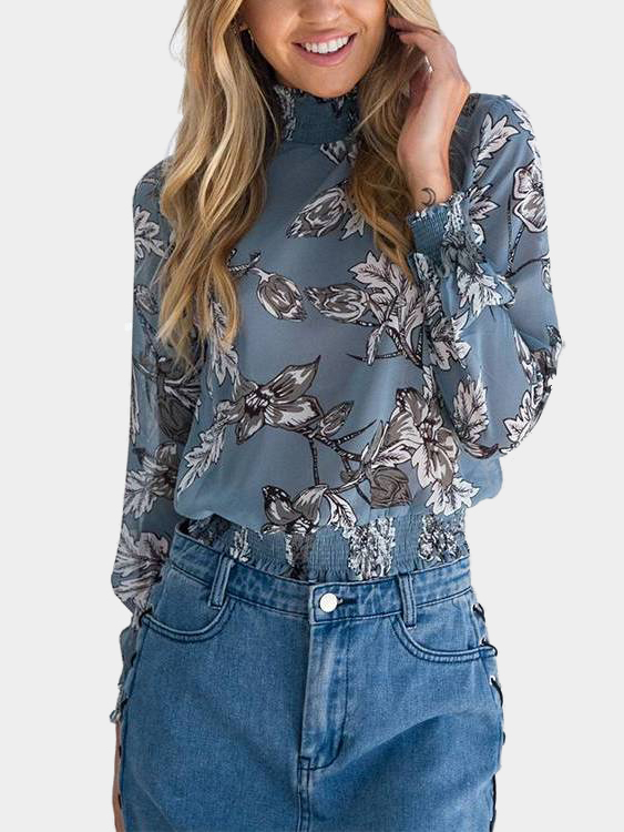 Blue Random Floral Print Long Sleeves Blouse