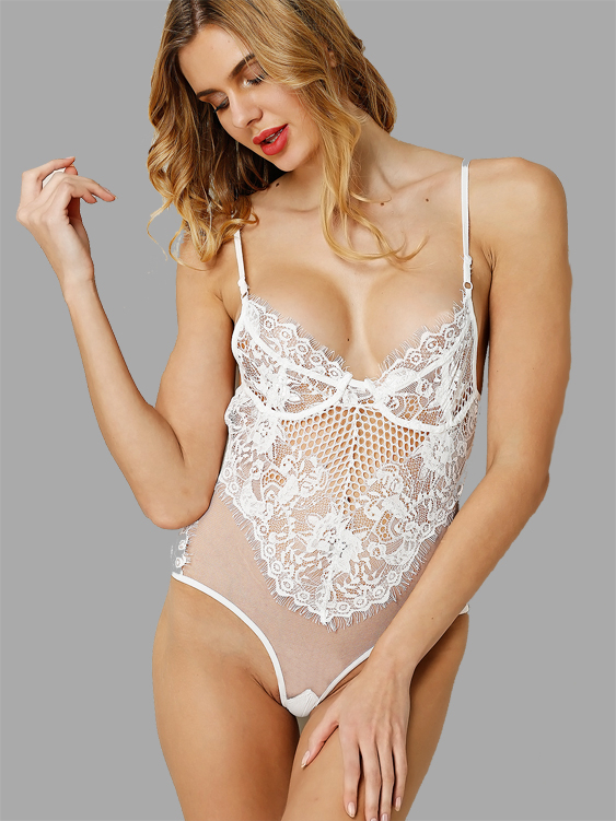 e9d9844e3a6b White Sexy Lace Hollow Out See-through Bodysuit with No Falsies ...