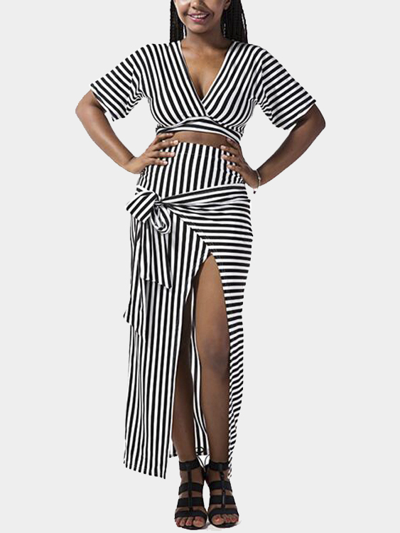 Plunge White and Black Stripe Cut Out Knot Front Split Maxi Dress