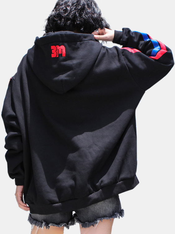 Active Letter Pattern Contrast Color Sports Hoodies in Black