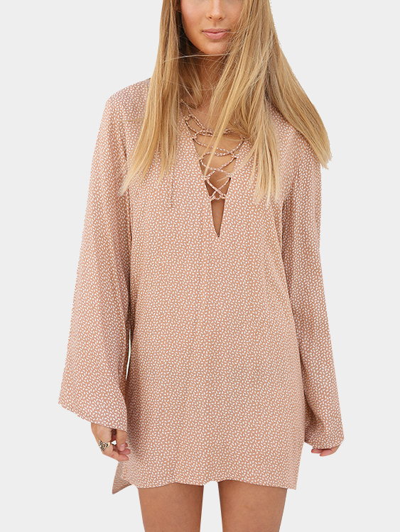 Random White Speckled Print V Neck with Lace up at Bust Dress