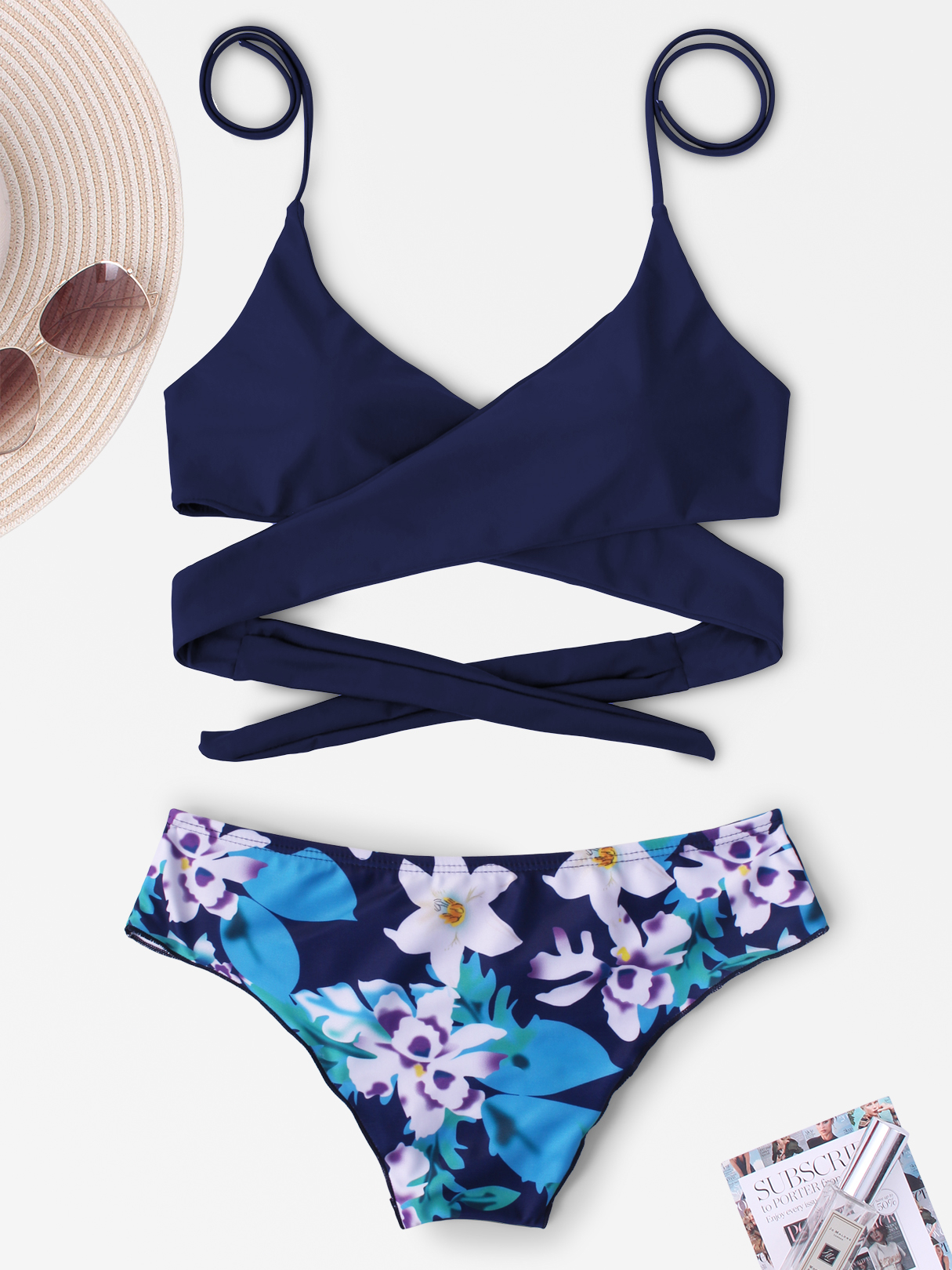 Navy & Floral Print V-neck Halter Tie-up Design Bikini