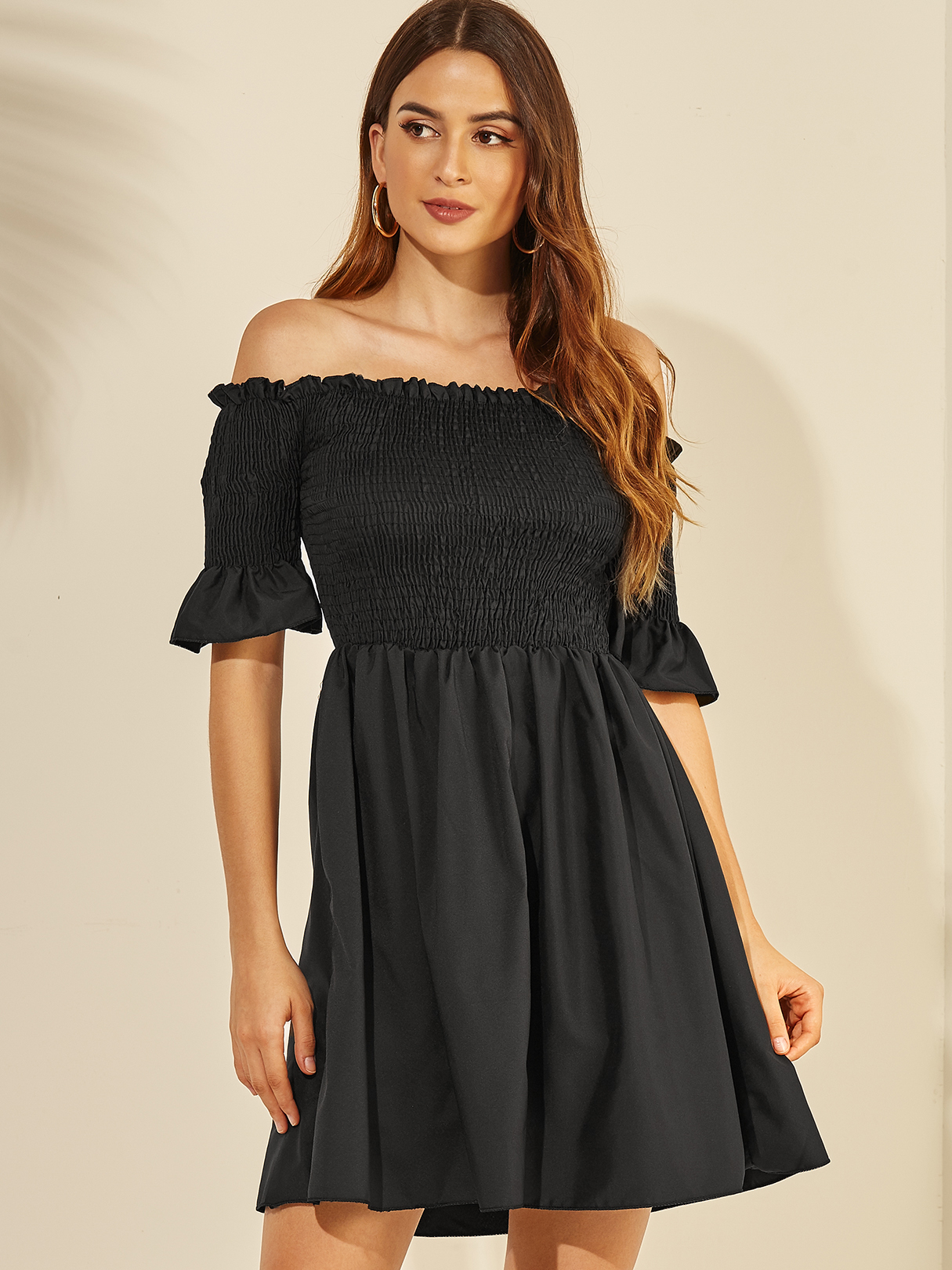 Black Backless Design Off The Shoulder Half Sleeves Dress ROBES Noir  xs|s|m|l Yoins